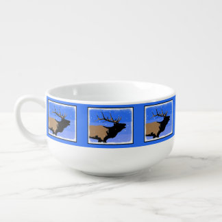 Bugling Elk in Winter Soup Mug