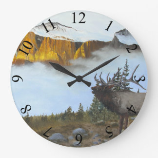 Bugling Elk Large Clock
