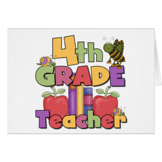 Bugs and Apples 4th Grade Teacher Greeting Card