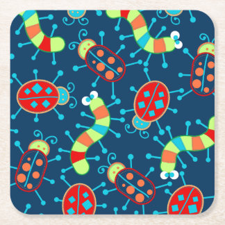 Bugs and beetles square paper coaster