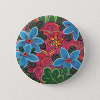 Bugs and Flowers Garden 2 Inch Round Button
