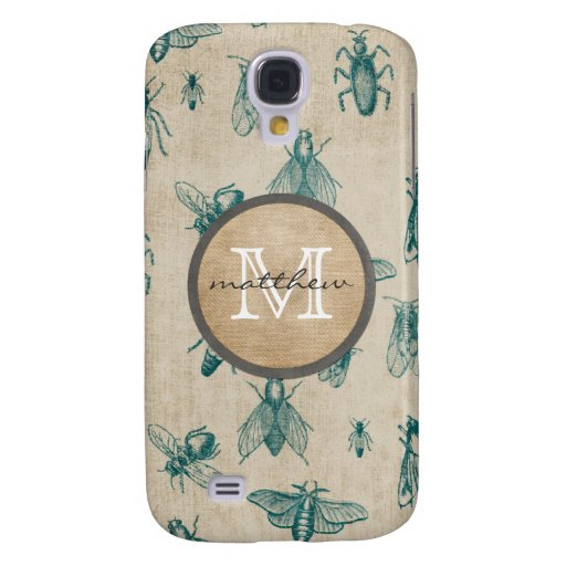 Bugs and Insects Background Monogram Samsung Galaxy S4 Cases