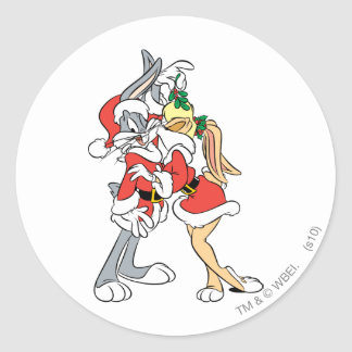 BUGS BUNNY™ and Lola Mistletoe Kiss Round Sticker