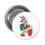 Bugs Bunny Santa walking happily Button