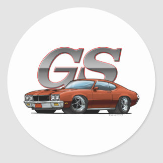 Buick GS_brown Classic Round Sticker