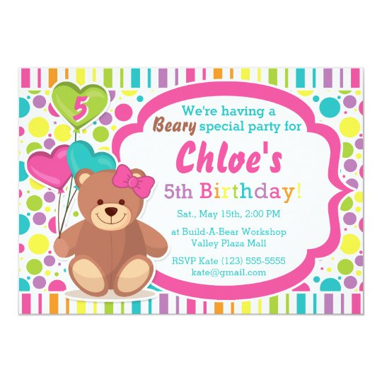 fe3d8172222 Build A Bear Girl s Birthday Party Invitation