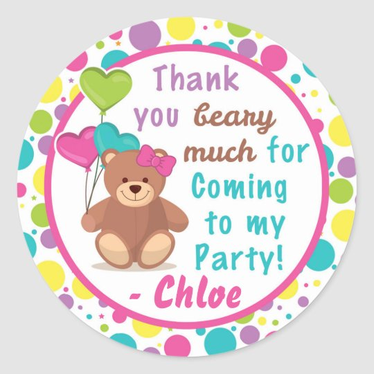 3a9b934173f Build A Bear Girl s Birthday Party Thank You Label