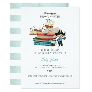 Build a Library Baby Shower   Baby Boy Card