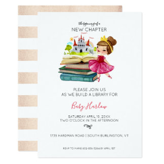 Build a Library Baby Shower   Baby Girl Card