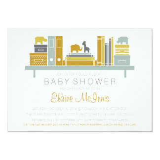 Build A Library Baby Shower Invitation