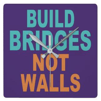 """""""Build Bridges Not Walls"""" wall clock"""