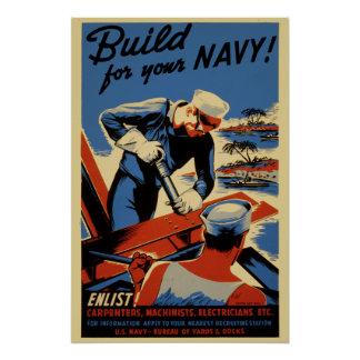 Build For Your Navy World War II Propaganda Poster
