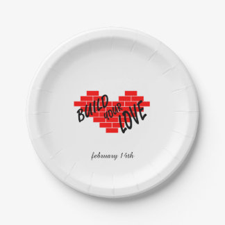 build love paper plate