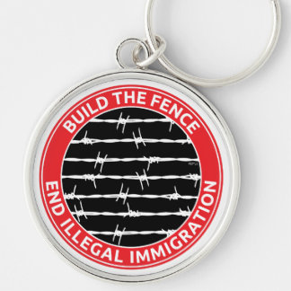 Build The Fence Silver-Colored Round Keychain