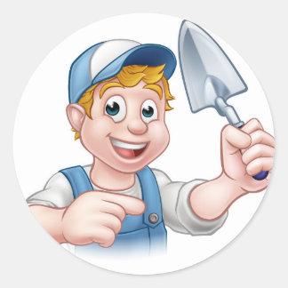 Builder Bricklayer Construction Worker Trowel Tool Classic Round Sticker