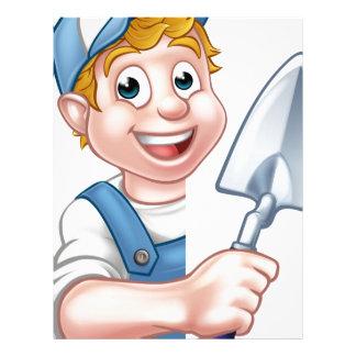 Builder Bricklayer Construction Worker Trowel Tool Letterhead