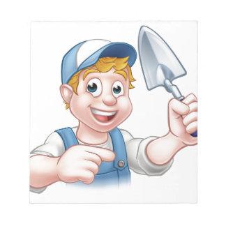 Builder Bricklayer Construction Worker Trowel Tool Notepad