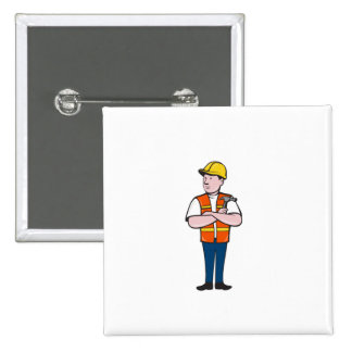 Builder Carpenter Folded Arms Hammer Cartoon 2 Inch Square Button