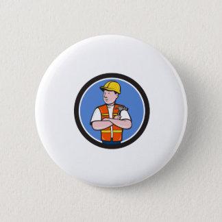 Builder Carpenter Folded Arms Hammer Circle Cartoo 2 Inch Round Button