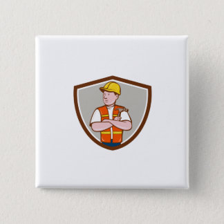 Builder Carpenter Folded Arms Hammer Crest Cartoon 2 Inch Square Button