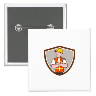 Builder Carpenter Folded Arms Hammer Crest Cartoon 2 Inch Square Button