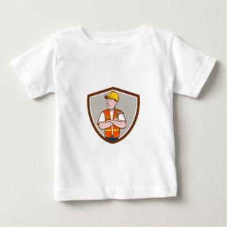 Builder Carpenter Folded Arms Hammer Crest Cartoon Baby T-Shirt