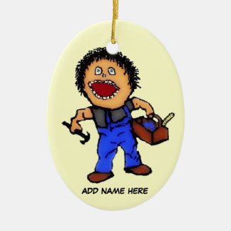 Builder Cartoon Ceramic Ornament