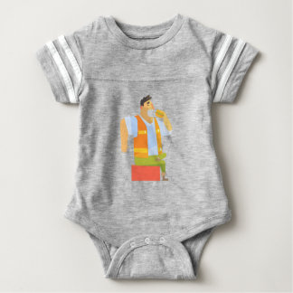 Builder Eating Lunch On Construction Site Baby Bodysuit