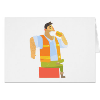 Builder Eating Lunch On Construction Site Card