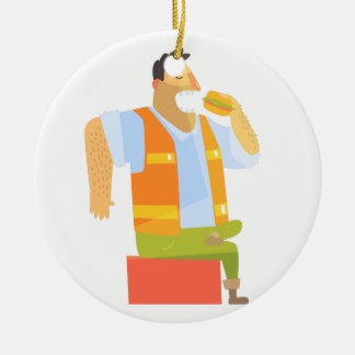 Builder Eating Lunch On Construction Site Ceramic Ornament