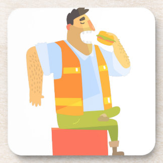 Builder Eating Lunch On Construction Site Coaster