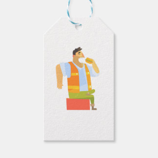 Builder Eating Lunch On Construction Site Gift Tags