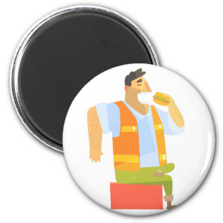Builder Eating Lunch On Construction Site Magnet