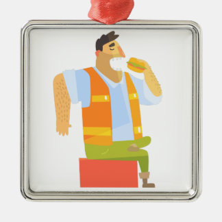 Builder Eating Lunch On Construction Site Metal Ornament