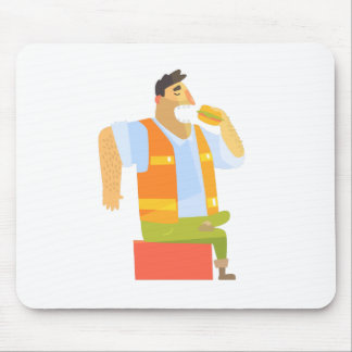 Builder Eating Lunch On Construction Site Mouse Pad