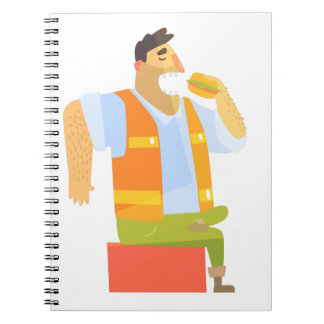 Builder Eating Lunch On Construction Site Notebook