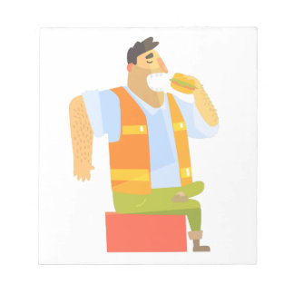 Builder Eating Lunch On Construction Site Notepad