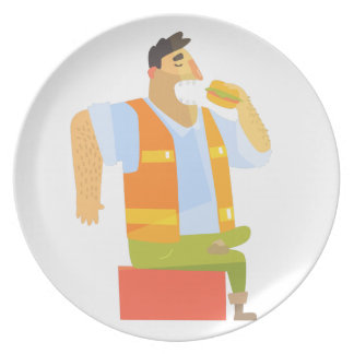 Builder Eating Lunch On Construction Site Plate