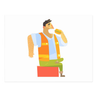 Builder Eating Lunch On Construction Site Postcard