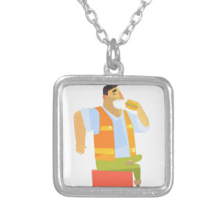 Builder Eating Lunch On Construction Site Silver Plated Necklace