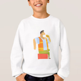 Builder Eating Lunch On Construction Site Sweatshirt