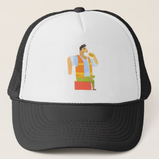 Builder Eating Lunch On Construction Site Trucker Hat