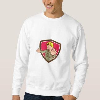 Builder Hand Stop Signal Crest Cartoon Sweatshirt