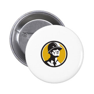 Builder Hardhat Looking Forward Circle Retro 2 Inch Round Button