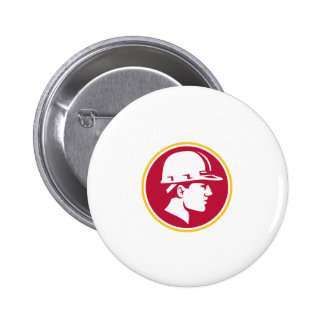 Builder Hardhat Side Circle Retro 2 Inch Round Button