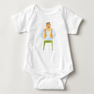 Builder In Cap On Construction Site Baby Bodysuit
