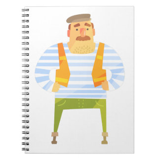 Builder In Cap On Construction Site Notebook