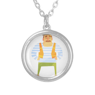 Builder In Cap On Construction Site Silver Plated Necklace