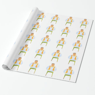 Builder In Cap On Construction Site Wrapping Paper