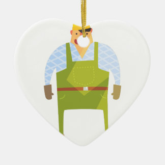 Builder In Hard Hat On Construction Site Ceramic Ornament